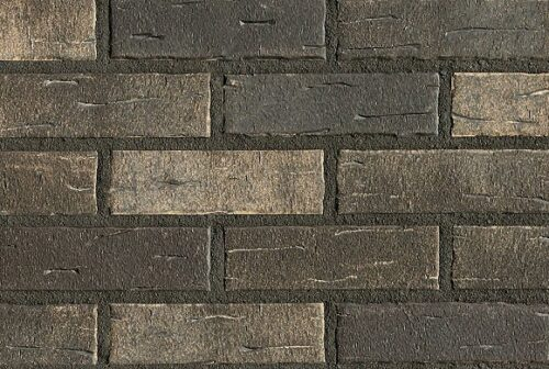 Клинкерная фасадная плитка под кирпич Roben Aarhus-Silberschwarz