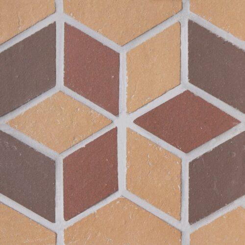 Вставка мозаичная из клинкера (на сетке) Экоклинкер Цветок